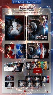 毛毛小舖--藍光BD 美國隊長3 英雄內戰 3D+2D 獨家幻彩盒限量鐵盒版 CIVIL WAR