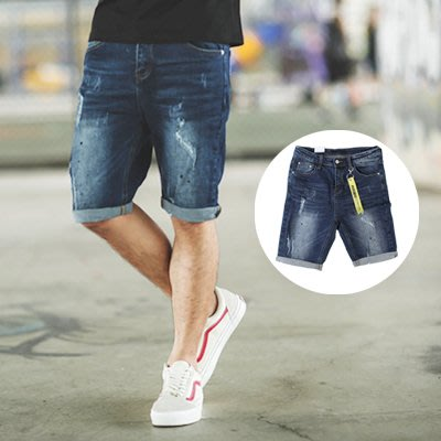 柒零年代【NB0225J】深藍刷色潑漆小抓破牛仔短褲 附飄條(LE-PA27)