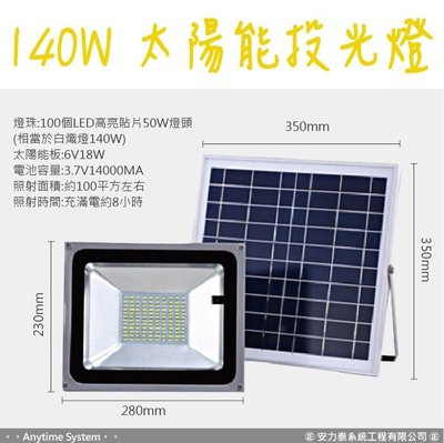 │安力泰系統房控館│140W 太陽能投光燈 戶外庭院燈 可調亮度 可定時