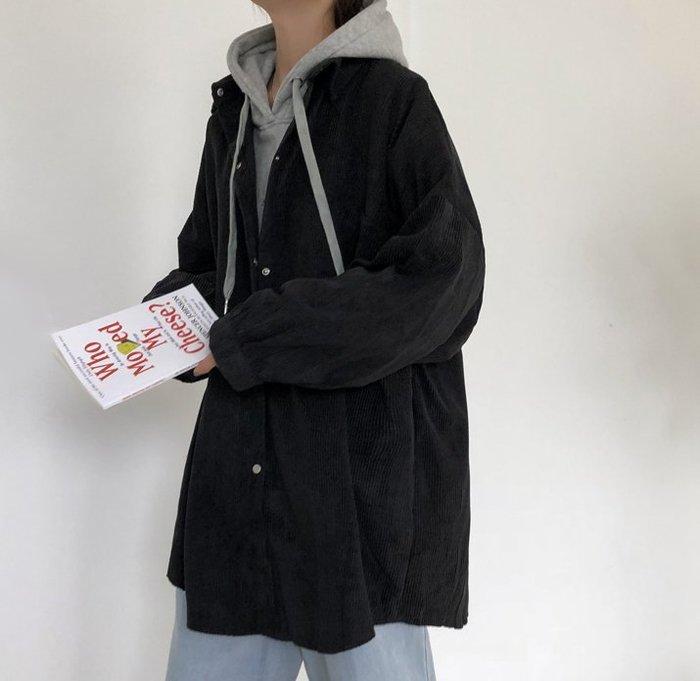 SeyeS  日韓系雜誌款自然風古著寬鬆燈心絨男友襯衫/外套