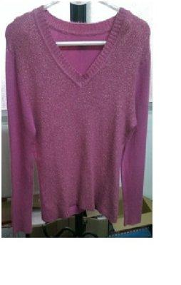 紫色針織長袖上衣,V領有彈性無內裡。(N55)