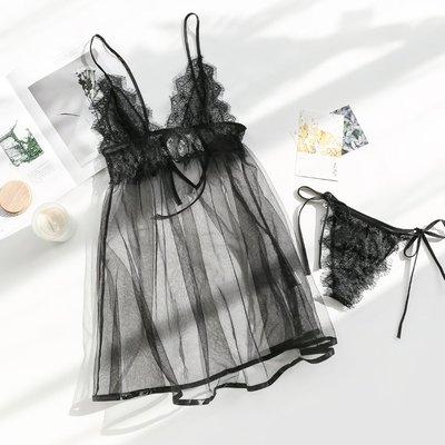 情趣內衣 角色扮演 清涼透視性感情趣內衣激情套裝夜店衣透視裝黑色誘惑網紗睡裙