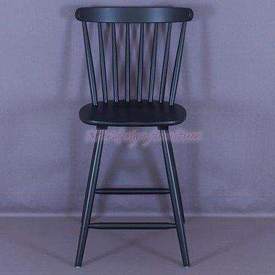 【N D Furniture】台南在地家具-歐式鄉村風橡膠木全實木黑色造型實木高腳吧椅/吧台椅BG