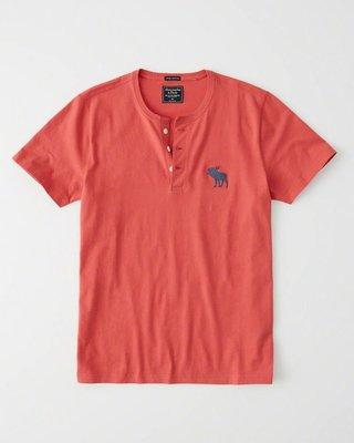 Maple麋鹿小舖 Abercrombie&Fitch * AF 橘紅色麋鹿LOGO亨利短T*( 現貨M號 )