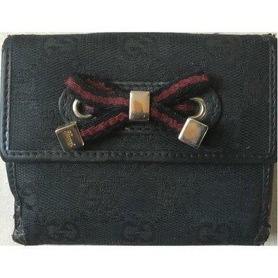 絕對正版 70%新【Gucci】黑色 真皮 帆布Leather Cotton Wallet Purse錢包 銀包 高貴 唔誇張 {原$3,980} 意大利造