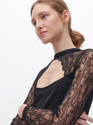 歐洲Reserved 黑色 性感露背蕾絲上衣 428元