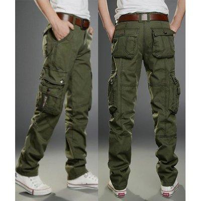 【經典款式】大口袋拉鍊休閒寬鬆男褲...