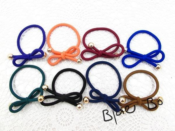 ~*BlueBo*~韓國飾品 基本款 超好用素色蝴蝶結橡皮筋    髮束/髮飾/綁馬尾~特價