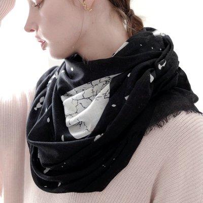 羊毛披肩 長 圍巾-黑色月亮波點超薄女配件73wq20[獨家進口][米蘭精品]