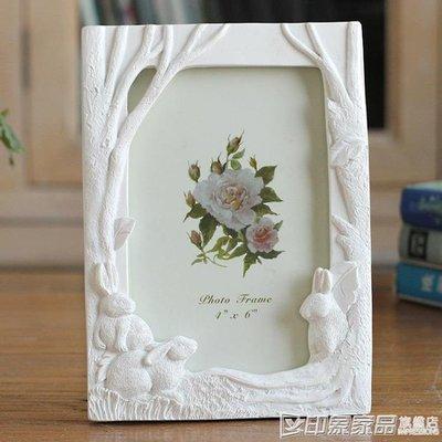 6寸三只兔子樹脂相框創意照片框兔子大樹擺台彩繪家居飾品  印象家品