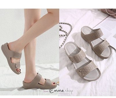 EmmaShop艾購物-正韓國熱銷款-夏季舒適軟底彈性寬版涼拖鞋/大尺碼到42號