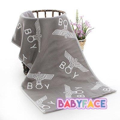BabyFace【三層紗】紗布料擦澡 2色男孩老鷹款大人小孩卡通大全棉毛巾洗臉巾海灘巾雙面提花 (34*76CM)