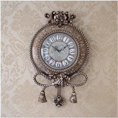 【優上】銀色歐式掛鐘靜音美式石英田園掛錶時鐘