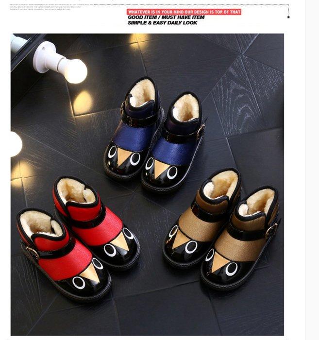 東大門平價鋪  新款小幼童雪地靴,男女童厚底防水PU保暖鞋,大中童加絨中筒棉靴