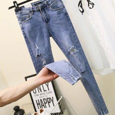 牛仔褲 不挑身材超彈40~100公斤薄款高腰破洞做舊水洗顯瘦小腳褲 艾爾莎【TAE8295】