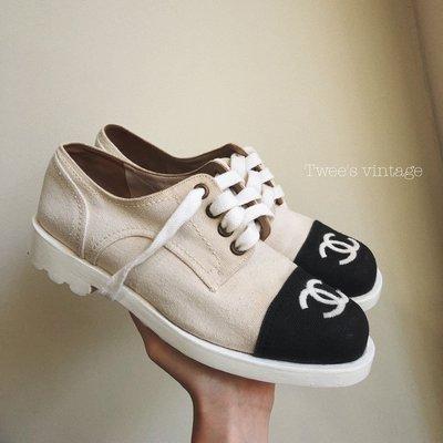 Sold❤️Twee's vintage❤️Chanel vintage黑白大logo古董鞋,20年以上的古董鞋,絕版美鞋市面買不到囉