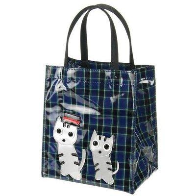 ◎Life Sense◎【日本製】防水格紋帽子貓咪手提袋 保溫瓶袋 傘袋 水壺袋 便當袋 提瓶袋 雙杯袋