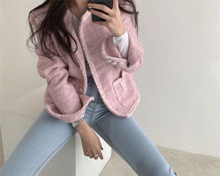 PapaDarling 20SS 正韓復古氣質小香風 短款 外套 粉紅色 白色
