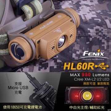 丹大戶外【Fenix】HL60R Fenix 雙光源可充電頭燈 沙漠