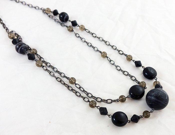 破盤清倉大降價!全新美國名牌 Carolee 卡蘿莉 黑紋石雙層造型項鍊,只有這一件!免運費!