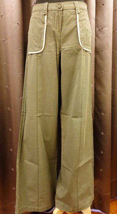 大降價!近全新只穿過一次 義大利設計師品牌 ACCIAIO 淡橄欖綠色軍綠色帥氣休閒造型寬管褲直筒褲,L號!免運無底價!