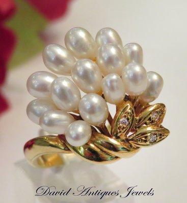 ((天堂鳥)) 新品刊登 King of Ring☞典雅日製K18天然珍珠鑽戒