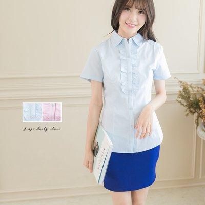 OL上班族制服/ 小荷葉女孩短袖襯衫《SEZOO襯衫殿 高雄店家》018701011