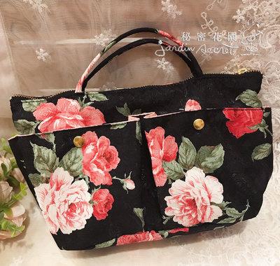 包中包--日本製抗菌消臭材質紅玫瑰袋中袋/包包收納袋/包包隔層/化妝包/收納包--秘密花園