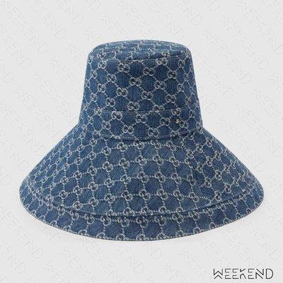 【WEEKEND】 GUCCI 滿版Logo 大帽沿 漁夫帽 帽子 牛仔 丹寧 藍色 631958