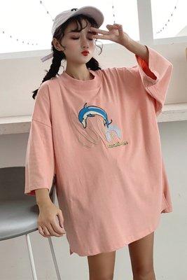 韓版BF卡通圓領顯瘦半袖上衣夏季加肥加大碼200斤胖MM寬松短袖T恤