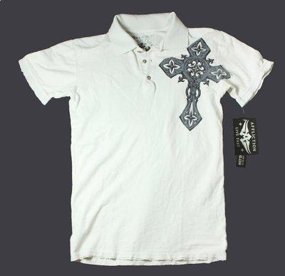 Affliction 短袖 POLO衫 十字架 翅膀  白色 刺青潮牌 S M 【以靡賣場 imy88.com】