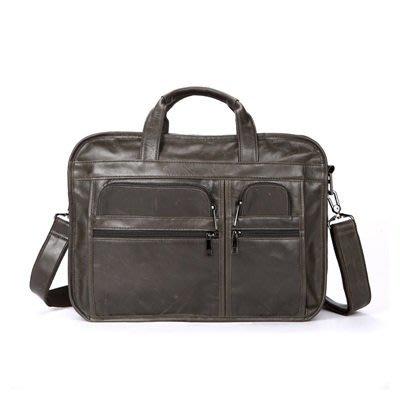 手提包 真皮 公事包-牛皮肩背大容量電腦包男包包5色73lo11[獨家進口][米蘭精品]