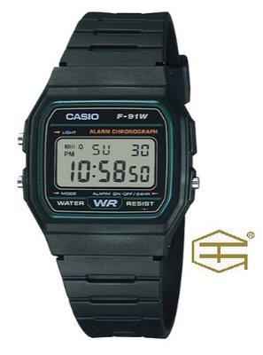【天龜 】CASIO  經典復古  簡約電子錶  F-91W-3 台中市