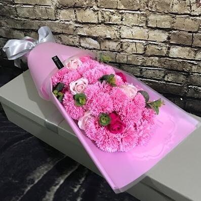 M-母親節禮物仿真康乃馨香皂花束禮盒創意教師節送媽媽長輩生日禮品(粉色搭色)【首圖款】