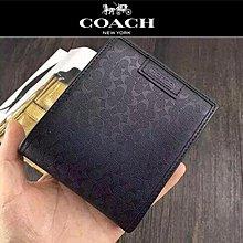 【小怡代購】 全新COACH 74547 美國正品代購新款男士壓花小C防刮短夾 錢包 特惠現貨