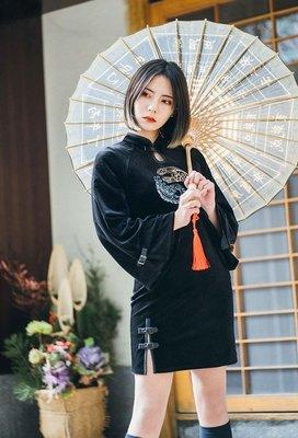 【黑店】原創設計 中國風刺繡絲絨龍鳳八...