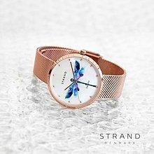 OBAKU丹麥時尚名牌STRAND系列/蜻蜓米蘭鋼帶手錶/珍珠母貝面盤/玫瑰金色/特價