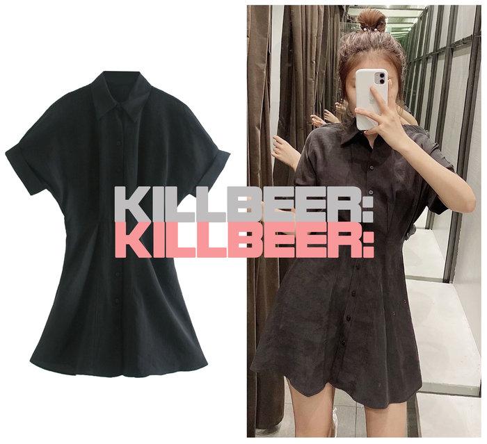 KillBeer:漂丿的都市名媛之 歐美復古簡約率性俐落立體剪裁收腰顯瘦絕黑排扣襯衫式連身裙洋裝A073003