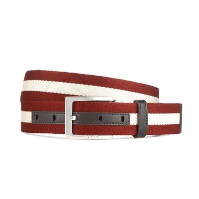 【台中米蘭站】全新品 BALLY TONNI 35 紅白條紋織帶牛皮腰帶 (雙面用/咖)