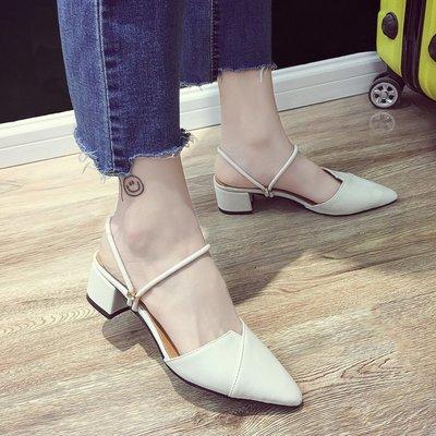 小尤家~拖鞋女夏時尚新款外穿百搭尖頭粗跟包頭中跟半拖一字兩穿涼鞋