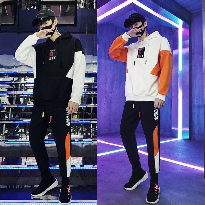 FINDSENSE 2019 春季 新款 韓國 街頭 嘻哈 套裝 字母 印花 時尚 寬鬆 個性連帽 衛衣 長袖 潮男
