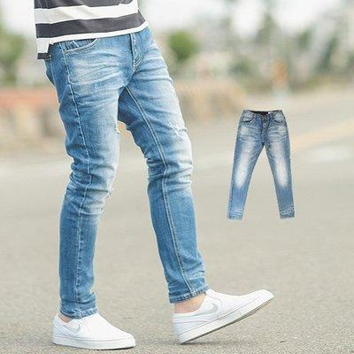 柒零年代【NB0426J】韓國製立體抓皺刷白合身版牛仔褲(LE-HB062)