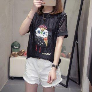 韓版上衣 中大尺碼女裝 L-4XL加大碼女裝顯瘦蕾絲上衣200斤夏裝短袖T恤衫 R11.G318