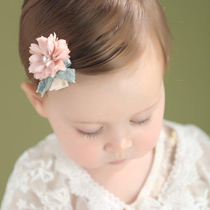 ☆草莓花園☆C176兒童髮夾 珍珠花朵髮夾    拍照攝影 頭飾髮飾
