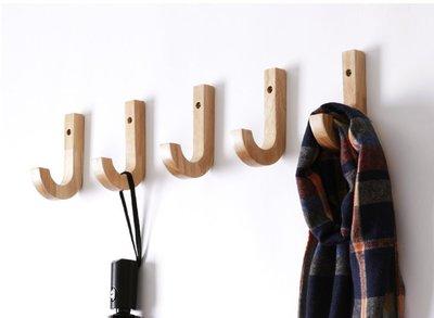 [ Atelier Smile ]  鄉村雜貨  日本直送 橡木 手工製 J型 掛勾 壁掛勾 五入一組  (現+預)