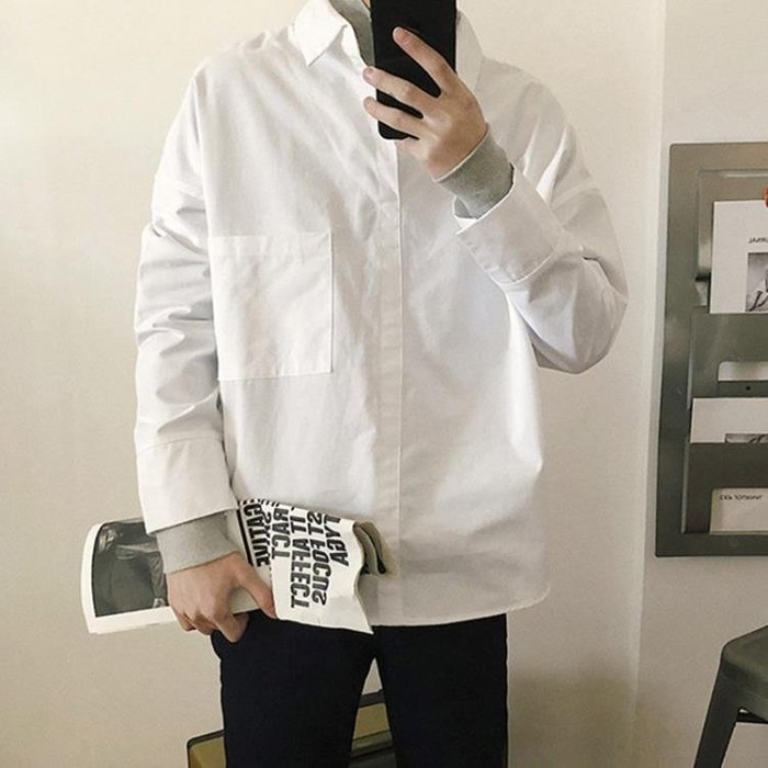 男士襯衫 港風復古假兩件拼接簡約長袖襯衫