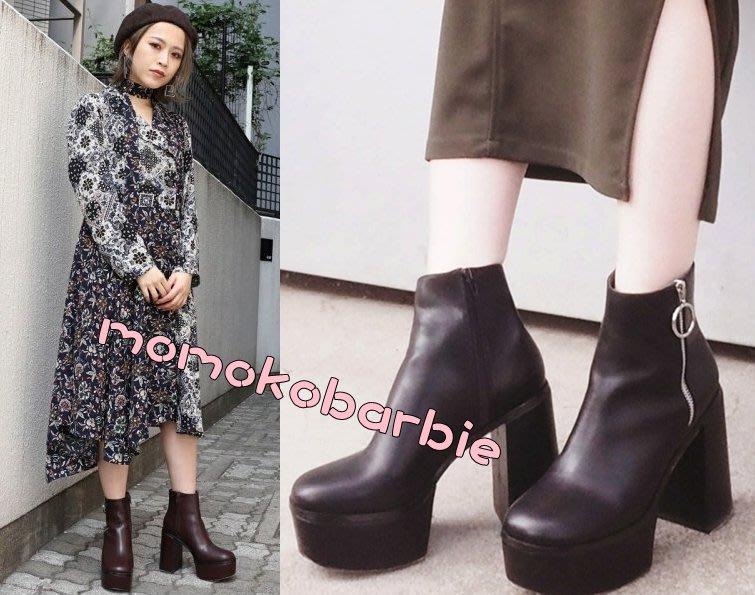 ☆搖滾甜心【AD4751】日本秋冬aw新款sg gyda murua sly moussy原單造型設計拉鍊短靴靴子