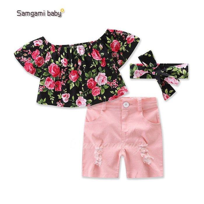 周可可 samgamibaby童裝女童碎花一字肩T粉色短褲頭飾3件套17149 ZC2289