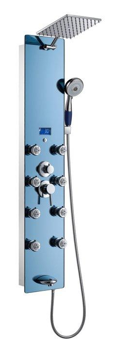 《101衛浴精品》藍色強化玻璃鏡面淋浴柱-878-392-H,8噴頭,噴嘴可拆洗【貨到付款 免運費】