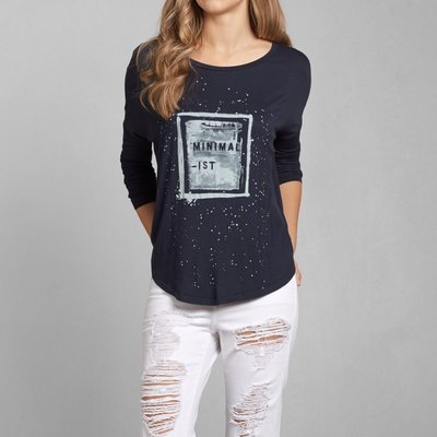 Maple麋鹿小舖 Abercrombie&Fitch * AF 深藍色寬版印花字母上衣* ( 現貨XS/S號 )